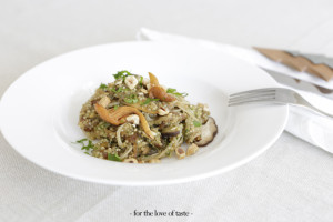 Quinoa mushrooms + apricot risotto salad