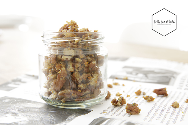 raw candied orange and thyme  pecan nuts
