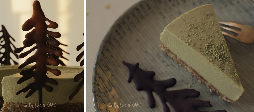 raw white chocolate and matcha cheesecake - dairyfree